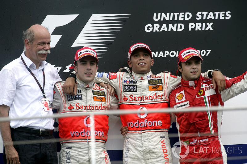 2007: 1. Льюис Хэмилтон, 2. Фернандо Алонсо, 3. Фелипе Масса
