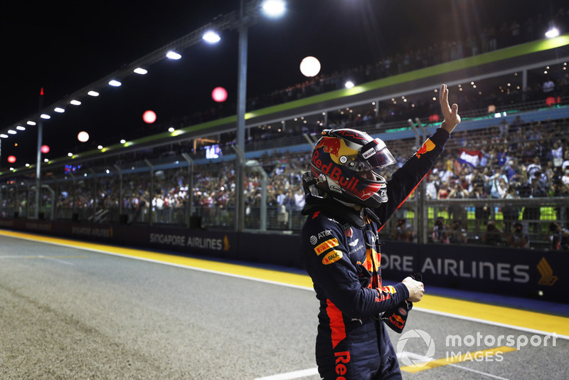 Max Verstappen, Red Bull Racing, waves to the crowd