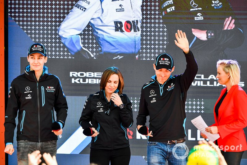 George Russell, Williams, Claire Williams, Deputy Team Principal, Williams Racing and Robert Kubica, Williams Racing at the Federation Square event