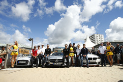 Audi, Mercedes Benz, BMW safety car in spiaggia con Timo Scheider, Audi Sport Team Phoenix; Adrien T