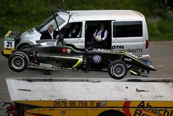 The car of Lando Norris, Carlin Dallara F317 - Volkswagen after the crash