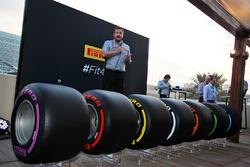 Paul Hembery, Pirelli Motorsport Director with the 2017 Pirelli F1 tyres