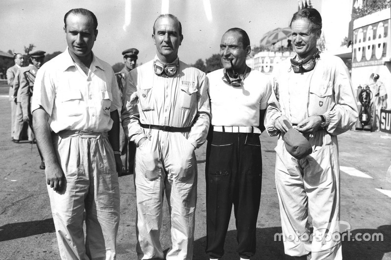 Alfa Romeo team: Juan Manuel Fangio, Giuseppe Farina, Felice Bonetto and Emmanuel de Graffenried