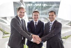 Oliver Blume, Porsche-Geschäftsführer, Alejandro Agag, Formel-E-Boss, Michael Steiner, Porsche-Entwi