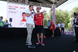 Sebastian Vettel, Ferrari is interviewed by Will Buxton, NBC TV Presenter