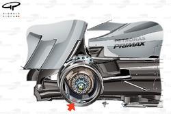 Mercedes W05 rear brake detail, note use of 4 pot caliper (arrow)
