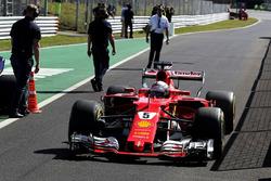 Sebastian Vettel, Ferrari, im Parc Ferme