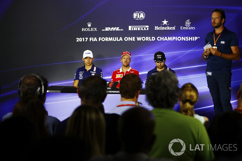 Press conference: Esteban Ocon, Force India, Sebastian Vettel, Ferrari, Sergio Perez, Force India