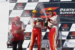 Podium: race winner Scott McLaughlin, Team Penske Ford, second place  Fabian Coulthard, Team Penske Ford