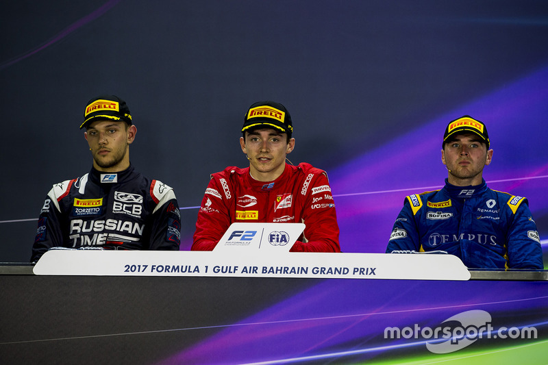Post-race press conference: race winner Charles Leclerc, PREMA Racing, second place Luca Ghiotto, RU