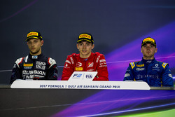 Pressekonferenz: 1. Charles Leclerc, PREMA Racing; 2. Luca Ghiotto, RUSSIAN TIME, 3. Oliver Rowland,