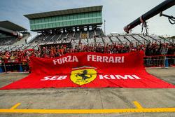 Ferrari fans and giant flag