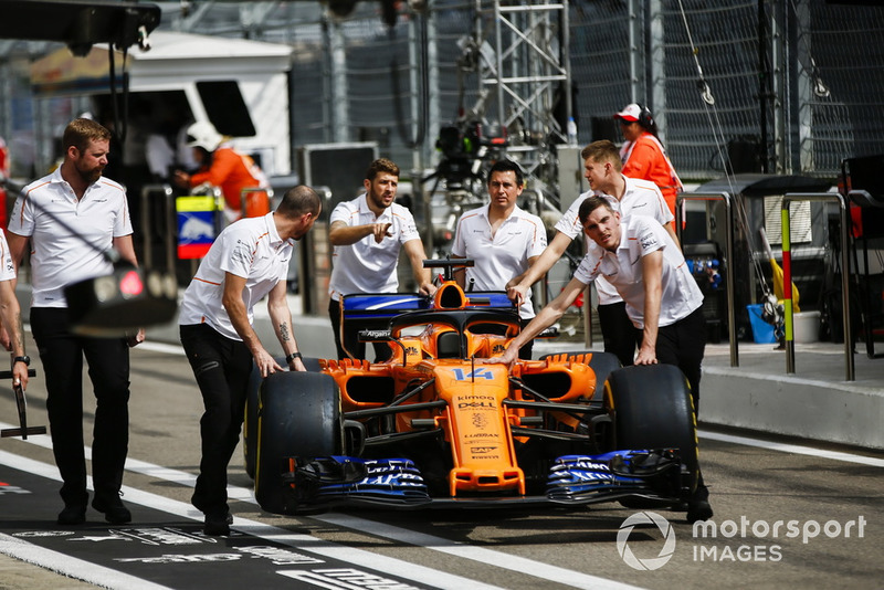 McLaren MCL33 of Fernando Alonso, being pushed back to the garage