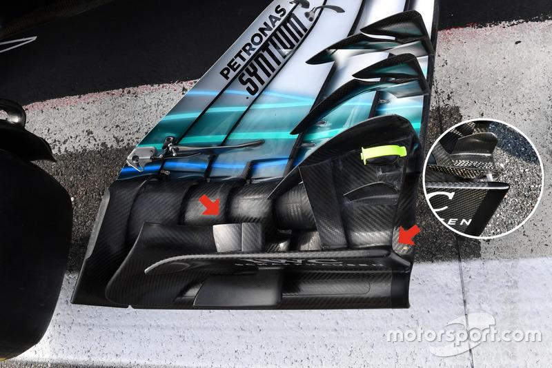 Detalle del alerón delantero del Mercedes-AMG F1 W09