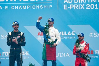 Antonio Felix da Costa, BMW I Andretti Motorsports celebrates victory on the podium with, second position, Jean-Eric Vergne, DS TECHEETAH and, third position, Jérôme d'Ambrosio, Mahindra Racing