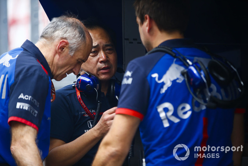 Franz Tost, Team Principal, Scuderia Toro Rosso, and Toyoharu Tanabe, F1 Technical Director, Honda
