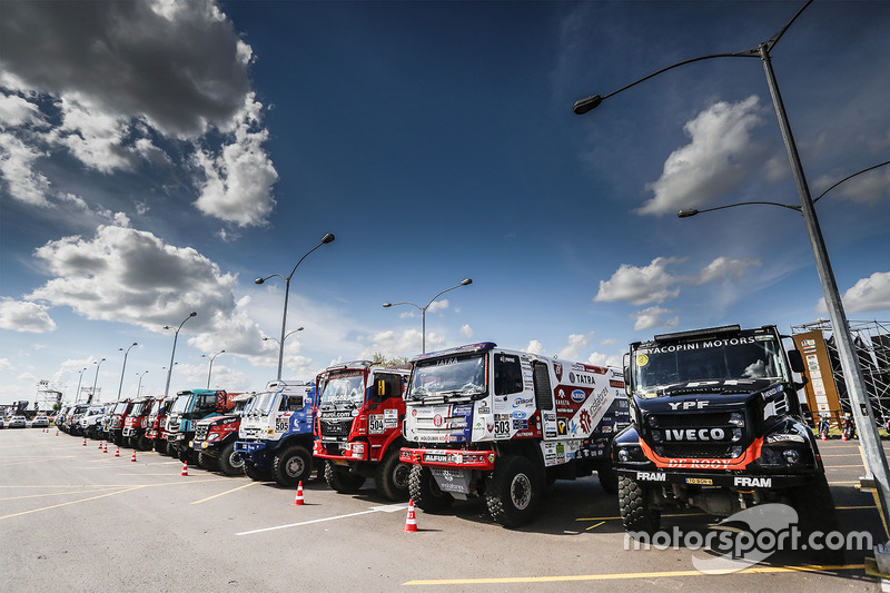 Trucks ready for the Start Podium