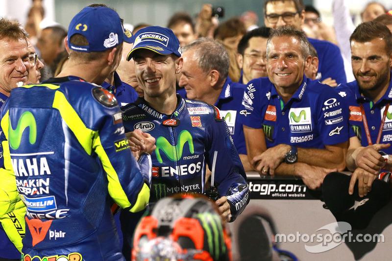 El ganador Maverick Viñales, Yamaha Factory Racing, Valentino Rossi, Yamaha Factory Racing