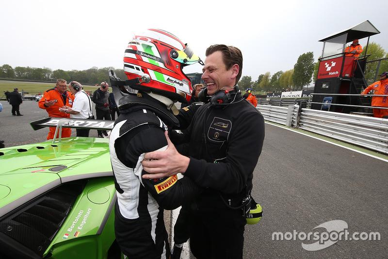 Polesitter Mirko Bortolotti, GRT Grasser Racing Team con il proprietario del team Gottfried Grasser