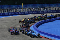 Sébastien Buemi, Renault e.Dams, leads Jose Maria Lopez, DS Virgin Racing, at the start of the race