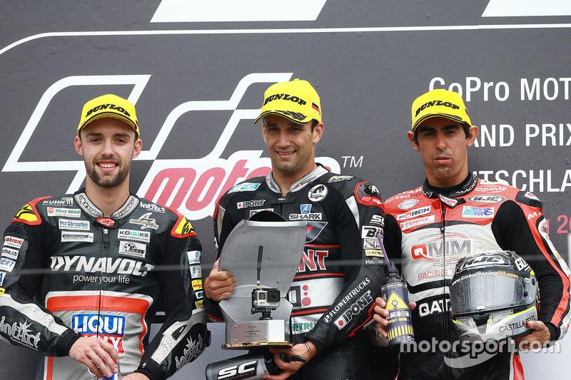 Podium: winner Johann Zarco, Ajo Motorsport, second place Jonas Folger, Dynavolt IntactGP, third place Julian Simon, QMMF Racing Team