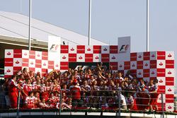 Race winner Fernando Alonso, Ferrari F10, and the Ferrari team celebrate a home victory