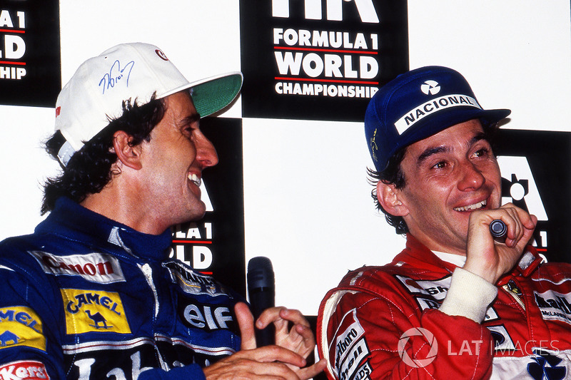World Champion Alain Prost, Williams, and race winner Ayrton Senna, McLaren, during the post race press conference, Adelaide 1993