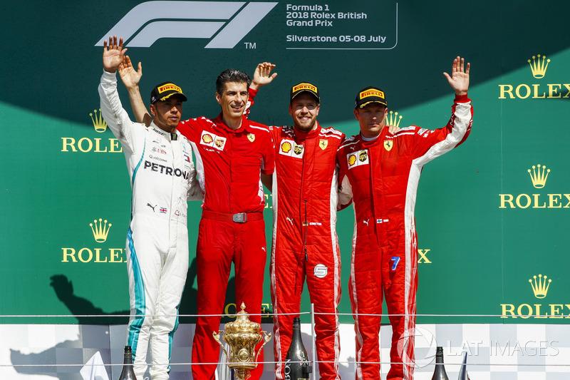 10. GP Inggris Raya - Podium: Sebastian Vettel, Lewis Hamilton, Kimi Raikkonen