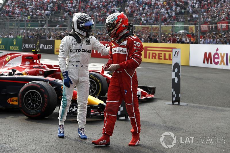 Segundo, Valtteri Bottas, Mercedes AMG F1, tercero, Kimi Raikkonen, Ferrari