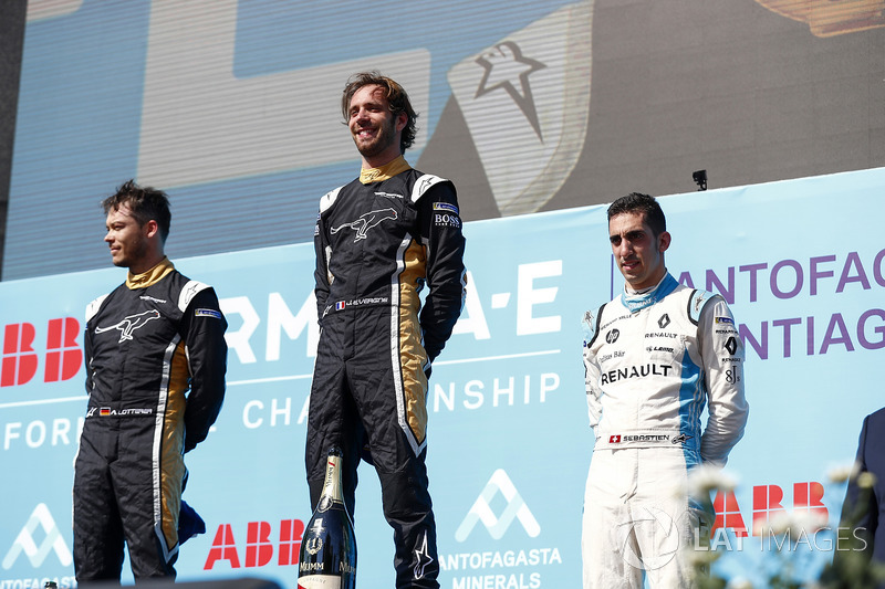 Jean-Eric Vergne, Techeetah, Andre Lotterer, Techeetah make up the first 1st 2nd finish in Formula E history with Sébastien Buemi, Renault e.Dams finishing 3rd