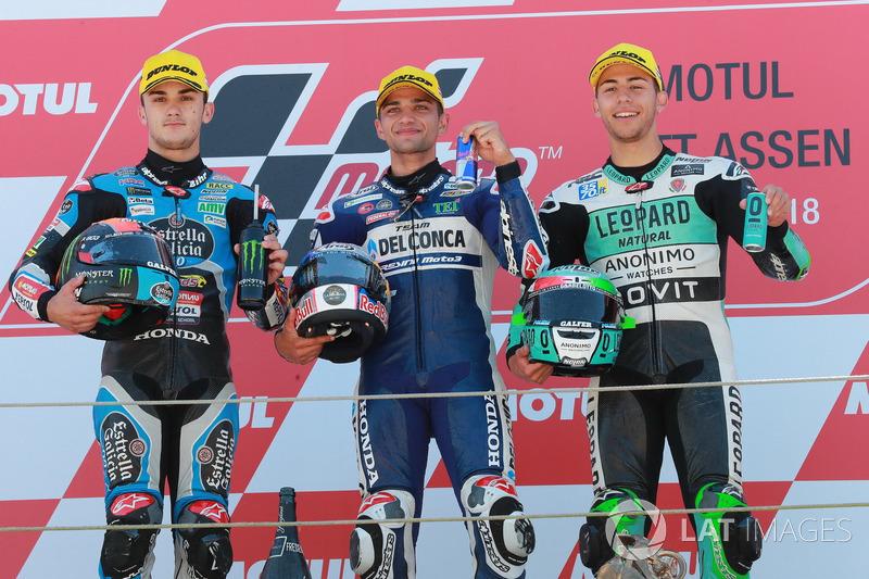 Podium: second place Aron Canet, Estrella Galicia 0,0, Race winner Jorge Martin, Del Conca Gresini Racing Moto3, third place Enea Bastianini, Leopard Racing