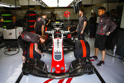 Kevin Magnussen, Haas F1 Team VF-18, in the garage