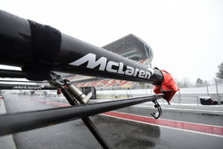 McLaren pit box as snow stops testing on day three