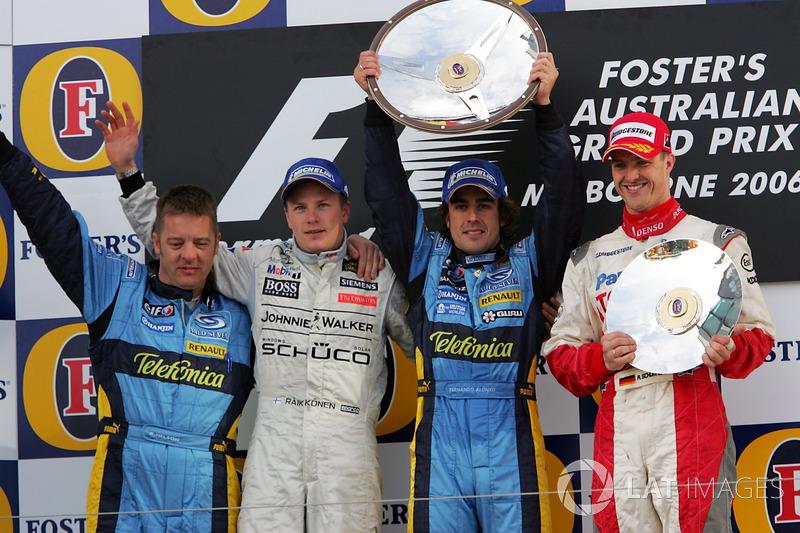 Kimi Raikkonen, McLaren, Fernando Alonso, Renault F1 Team, Ralf Schumacher, Toyota