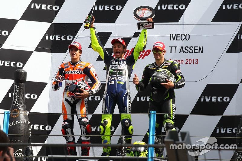 2013: 1. Valentino Rossi, 2. Marc Marquez, 3. Cal Crutchlow