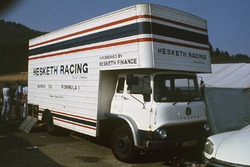 Hesketh Racing team's truck in the paddock