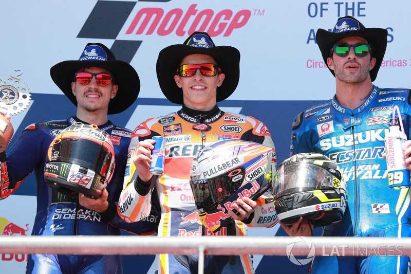 Podium: second place Maverick Viñales, Yamaha Factory Racing, Race winner arc Marquez, Repsol Honda Team, Athird place ndrea Iannone, Team Suzuki MotoGP