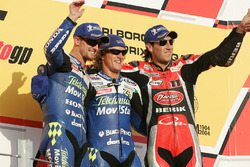 Podium: race winner Sete Gibernau, Honda, second place Colin Edwards, Honda, third place Ruben Xaus, Ducati