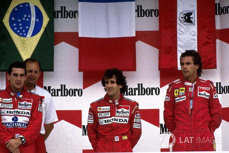 Podium: race winner Alain Prost, McLaren, second place Ayrton Senna, McLaren, third place Gerhard Berger, Ferrari
