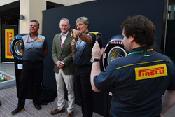 Sean Bratches, Formula One Managing Director, Commercial Operations, Roberto Boccafogli, Pirelli Head of F1 Communications and Mario Isola, Pirelli Sporting Director at the Pirelli 2018 launch