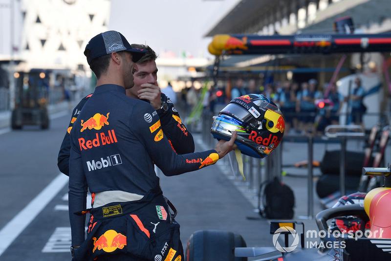 Daniel Ricciardo, Red Bull Racing with helmet and Max Verstappen, Red Bull Racing