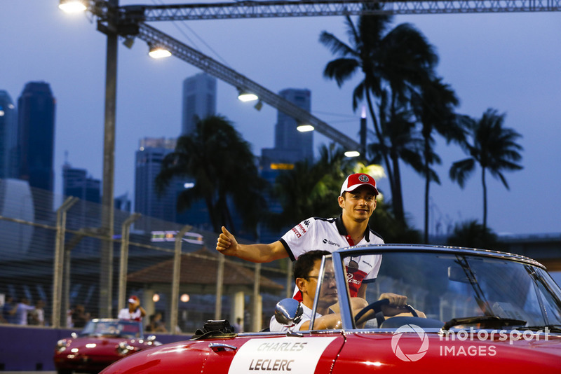 Charles Leclerc, Alfa Romeo Sauber F1 Team, on the drivers' parade