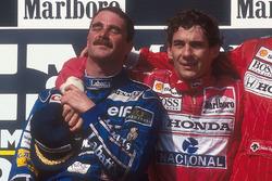 Podium: second place and world champion Nigel Mansell, Williams Renault, race winner Ayrton Senna, Mclaren Honda