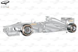Mock Pirelli test car with Hard (orange) compound tyres