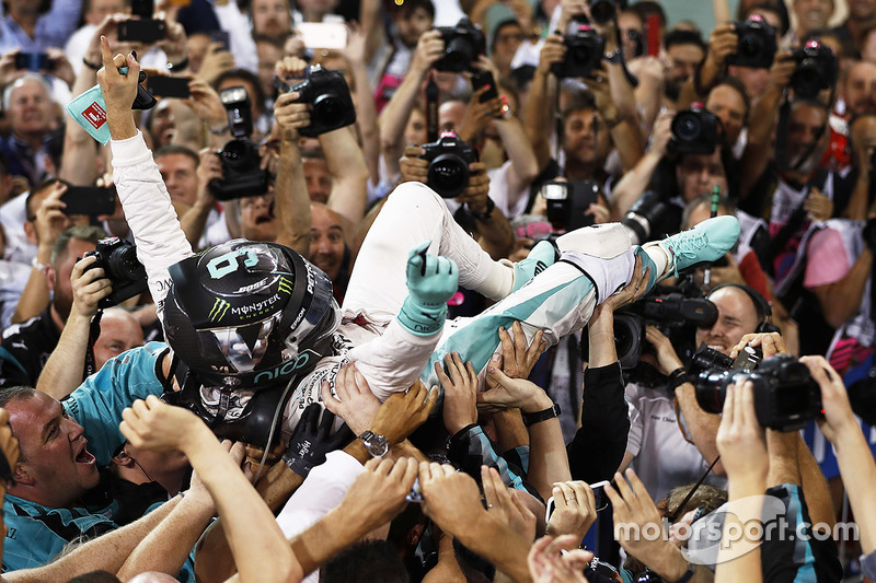 Second place and world champion Nico Rosberg, Mercedes AMG F1, celebrates