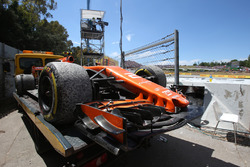 The car of race retiree Stoffel Vandoorne, McLaren MCL32 is recovered