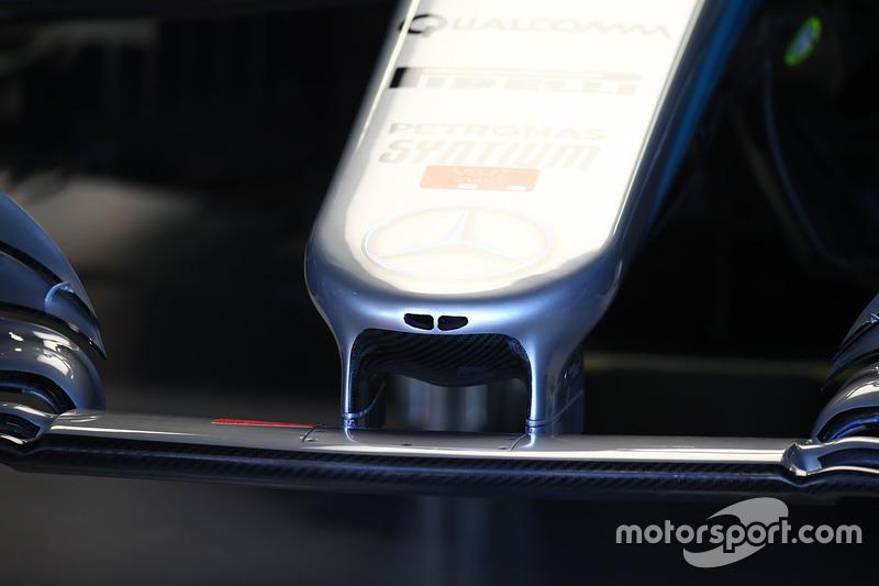 Detalle del morro del Mercedes-Benz F1 W08