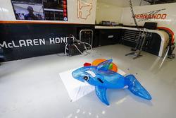 Pool toys in the McLaren garage
