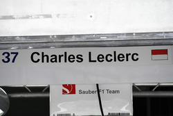 Garage sign for Charles Leclerc, Sauber