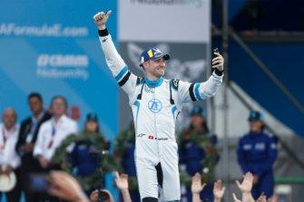 Edoardo Mortara Venturi Formula E, 3rd position, celebrates as he approaches the podium